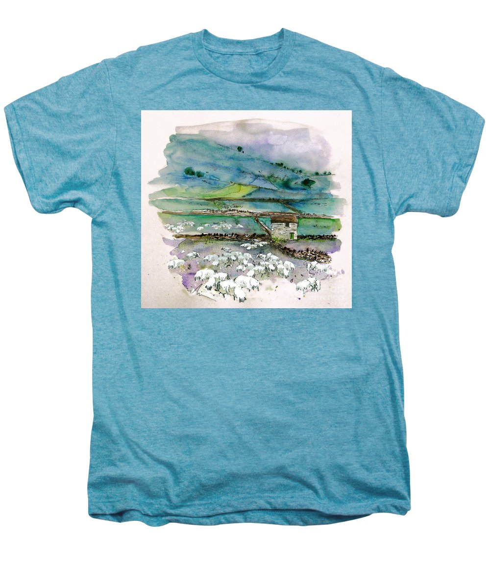 Paintings England Watercolour Travel Sketches Ink Drawings Art Landscape Paintings Town Men's Premium T-Shirt featuring the painting Peak District Uk Travel Sketch by Miki De Goodaboom