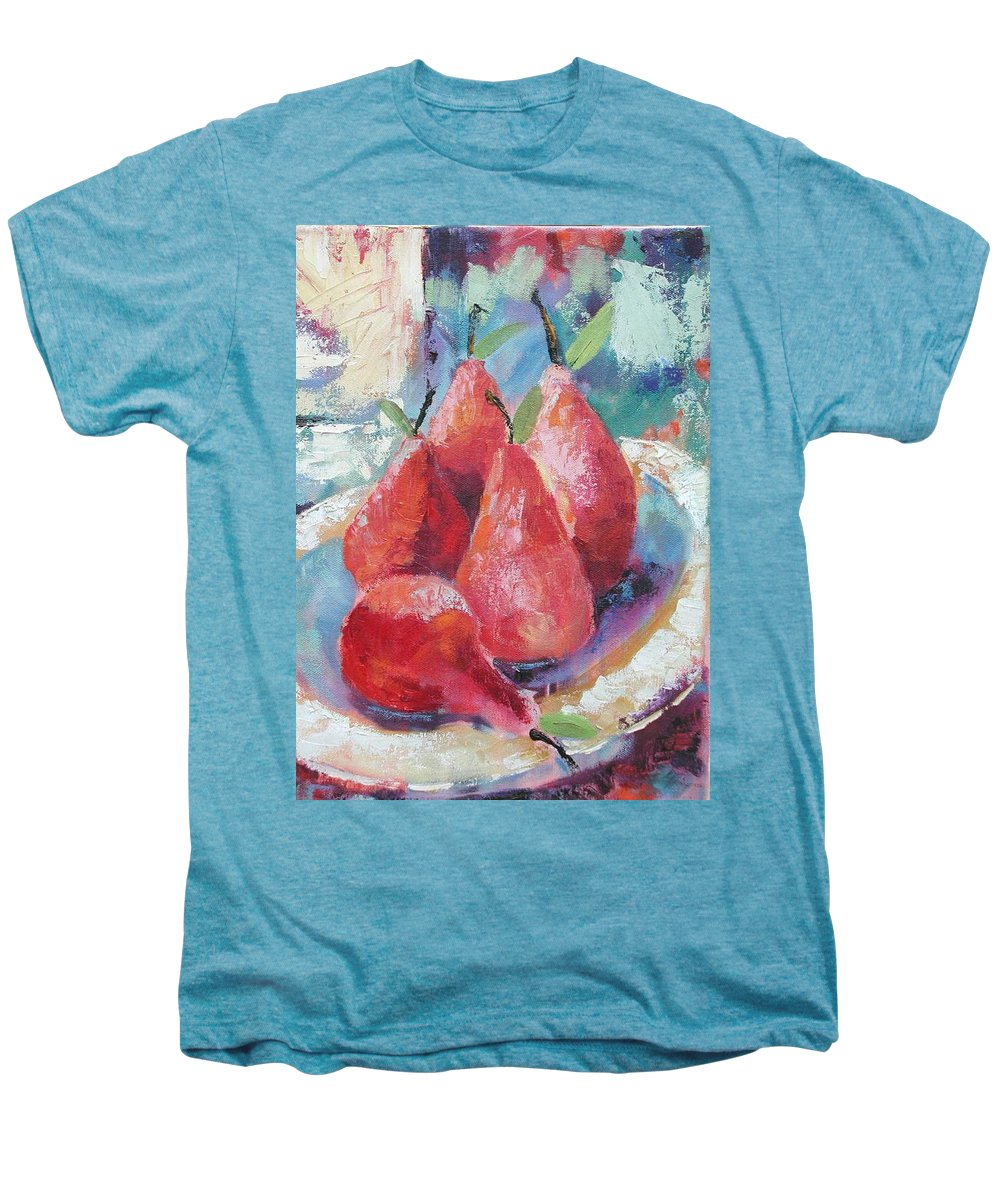 Pears Men's Premium T-Shirt featuring the painting Pears by Ginger Concepcion