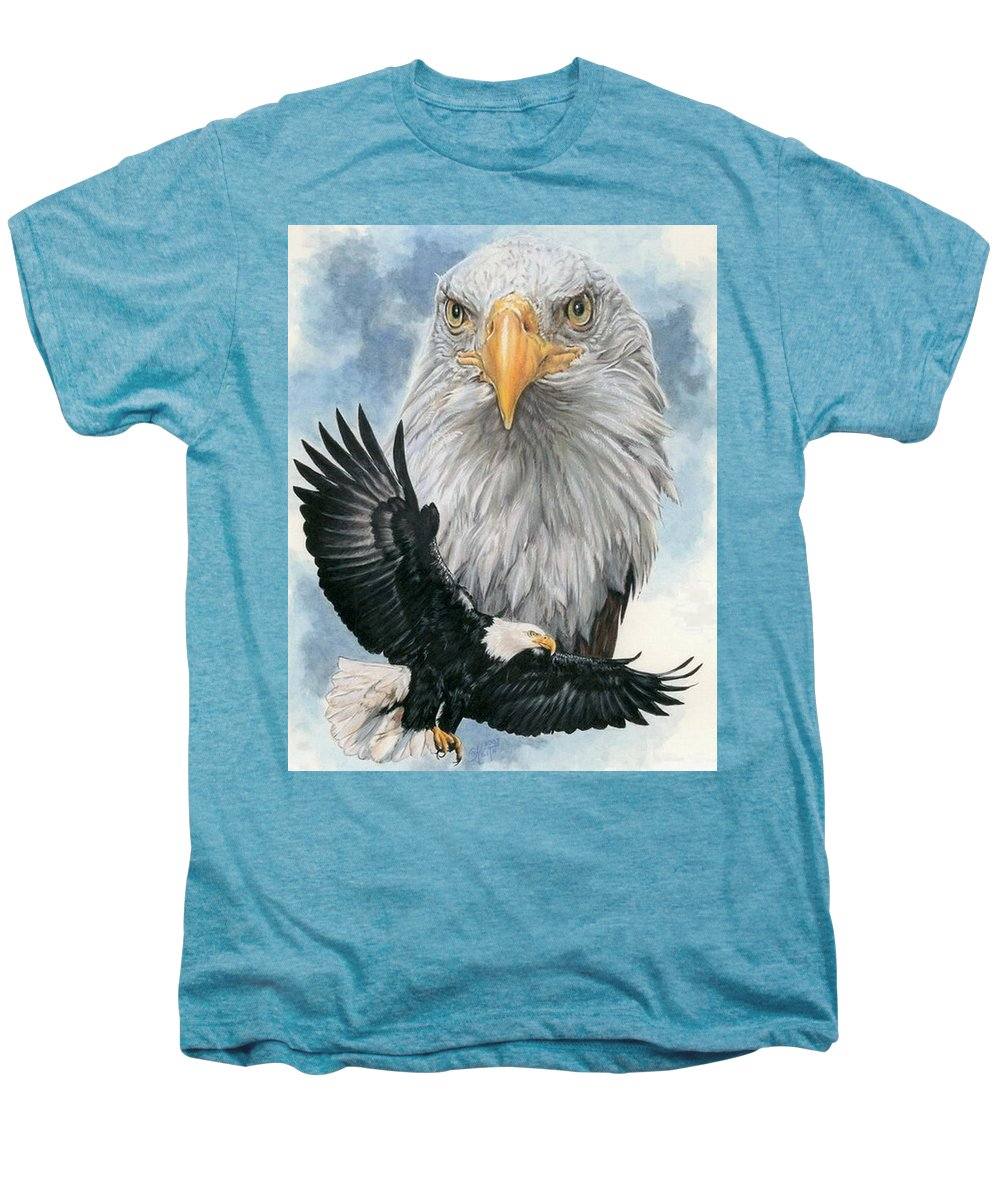 Bald Eagle Men's Premium T-Shirt featuring the mixed media Peerless by Barbara Keith