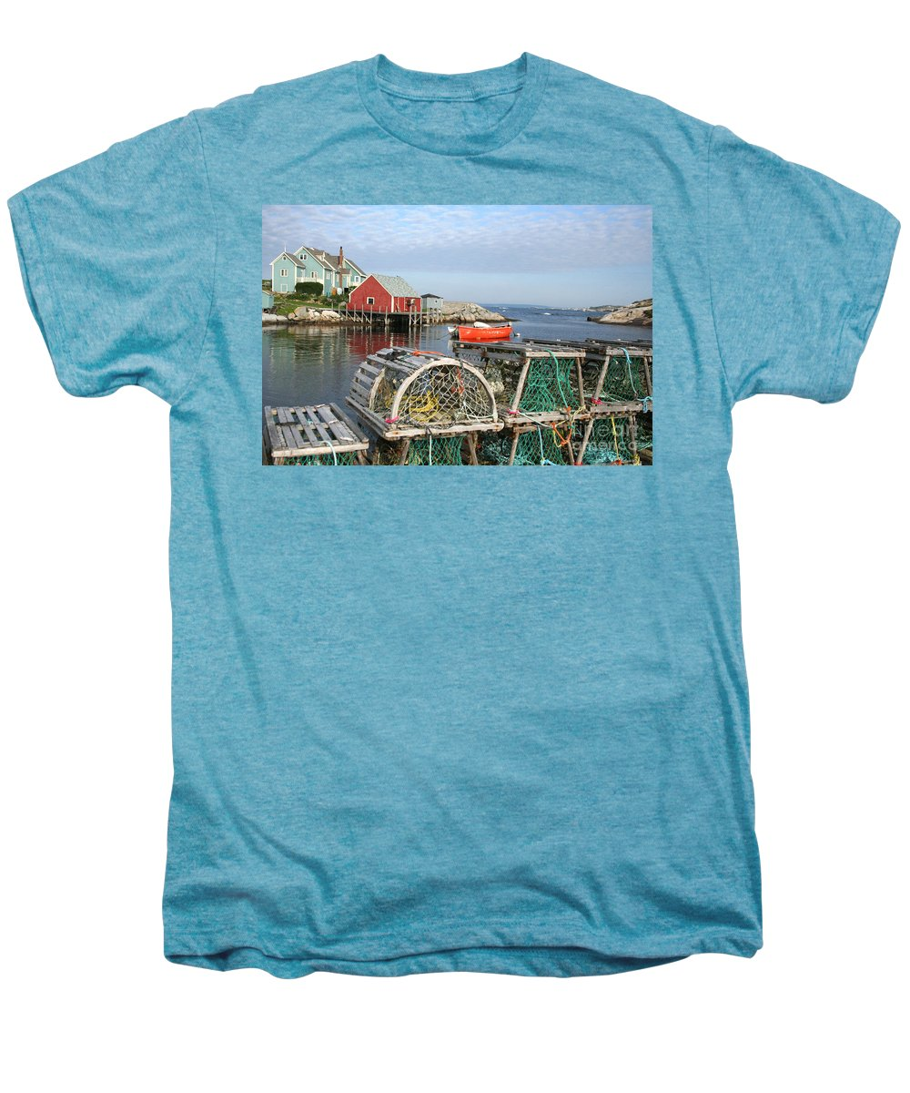 Peggy\\ Men's Premium T-Shirt featuring the photograph Peggys Cove And Lobster Traps by Thomas Marchessault