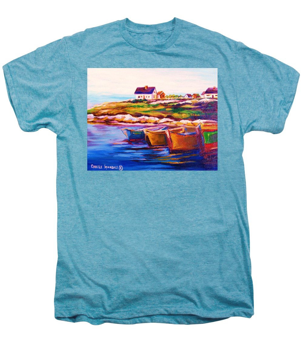 Row Boats Men's Premium T-Shirt featuring the painting Peggys Cove Four Row Boats by Carole Spandau
