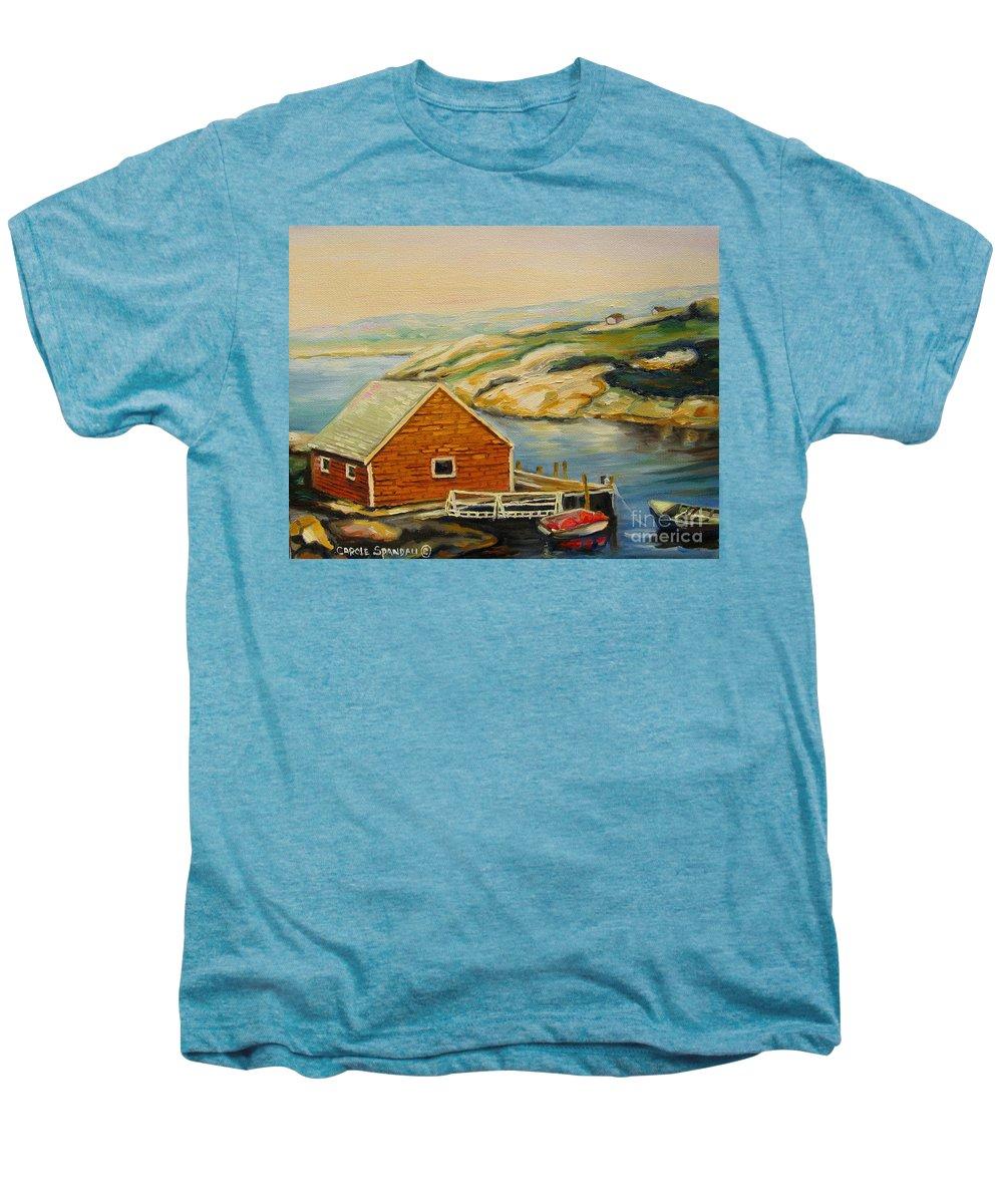 Peggy's Cove Harbor View Men's Premium T-Shirt featuring the painting Peggys Cove Harbor View by Carole Spandau