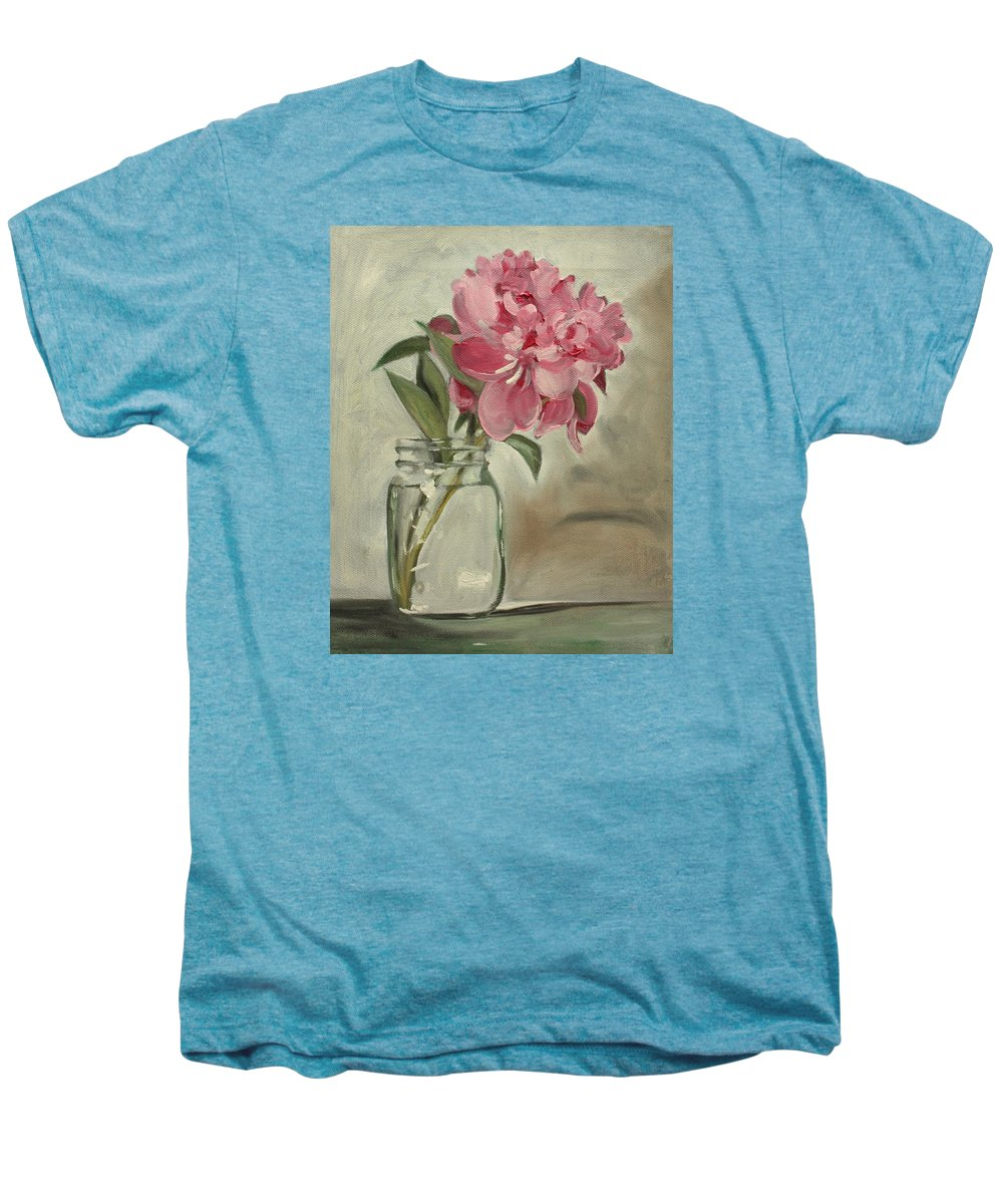 Still-life Men's Premium T-Shirt featuring the painting Peony by Sarah Lynch