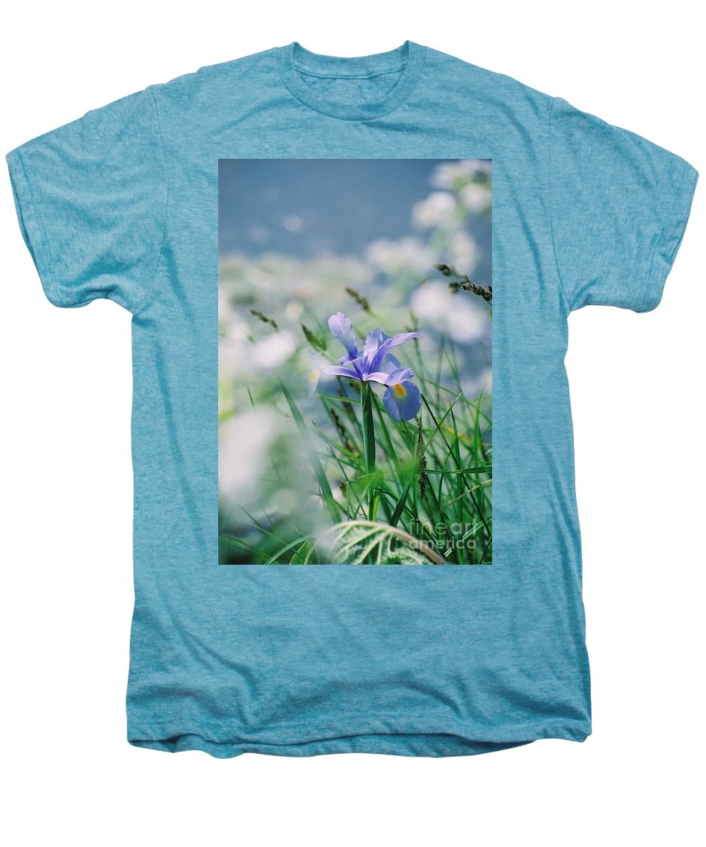 Periwinkle Men's Premium T-Shirt featuring the photograph Periwinkle Iris by Nadine Rippelmeyer