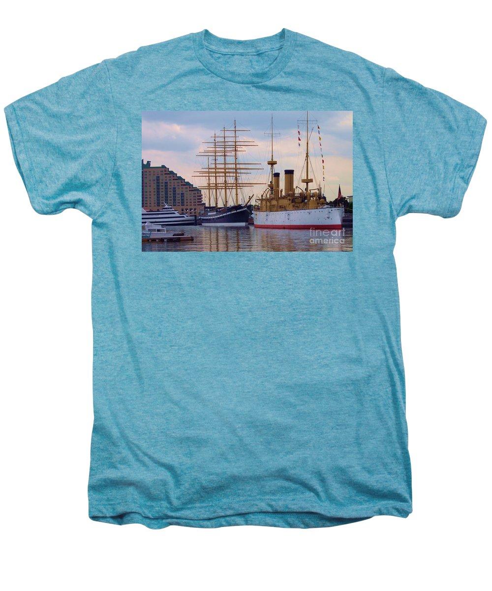 Philadelphia Men's Premium T-Shirt featuring the photograph Philadelphia Waterfront Olympia by Debbi Granruth
