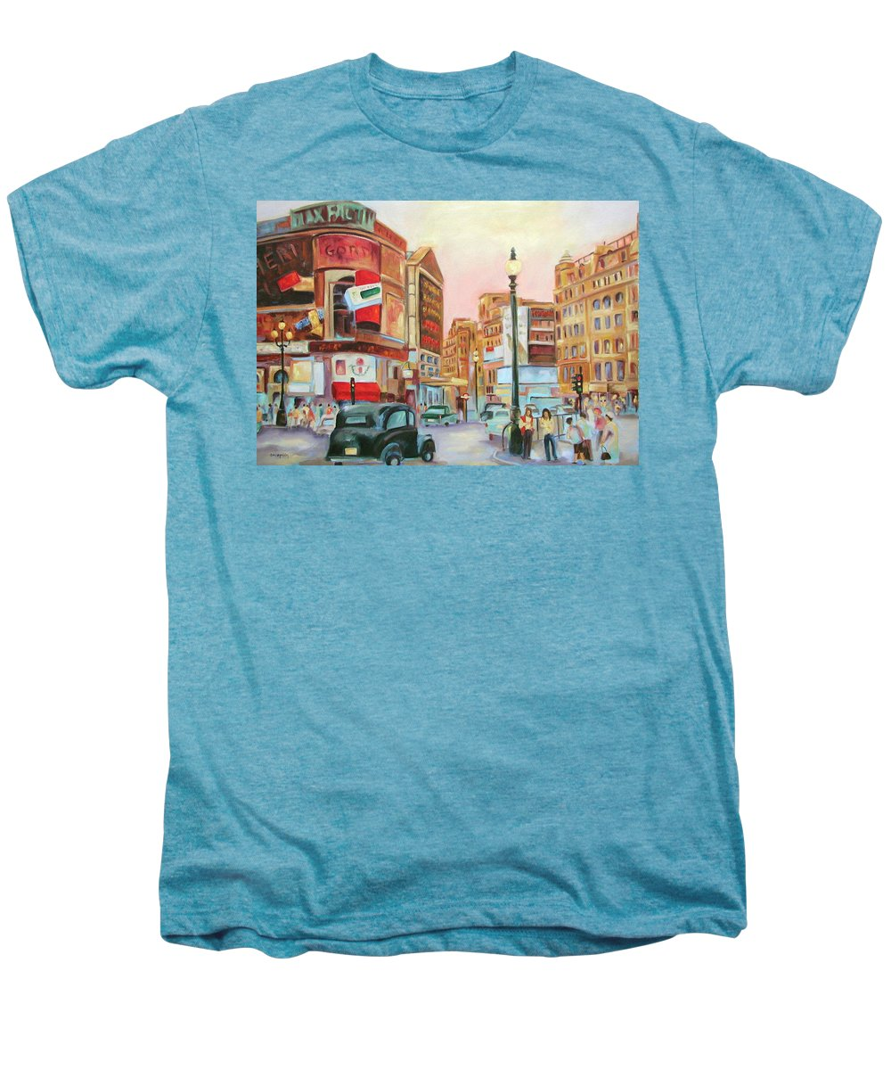 Cityscape Men's Premium T-Shirt featuring the painting Picadilly by Ginger Concepcion
