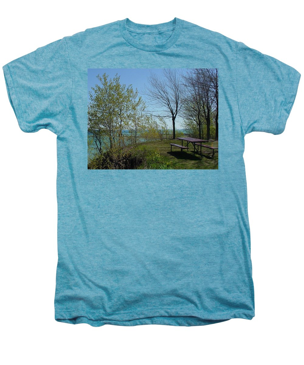 Lake View Men's Premium T-Shirt featuring the photograph Picnic Table By The Lake Photo by Anita Burgermeister