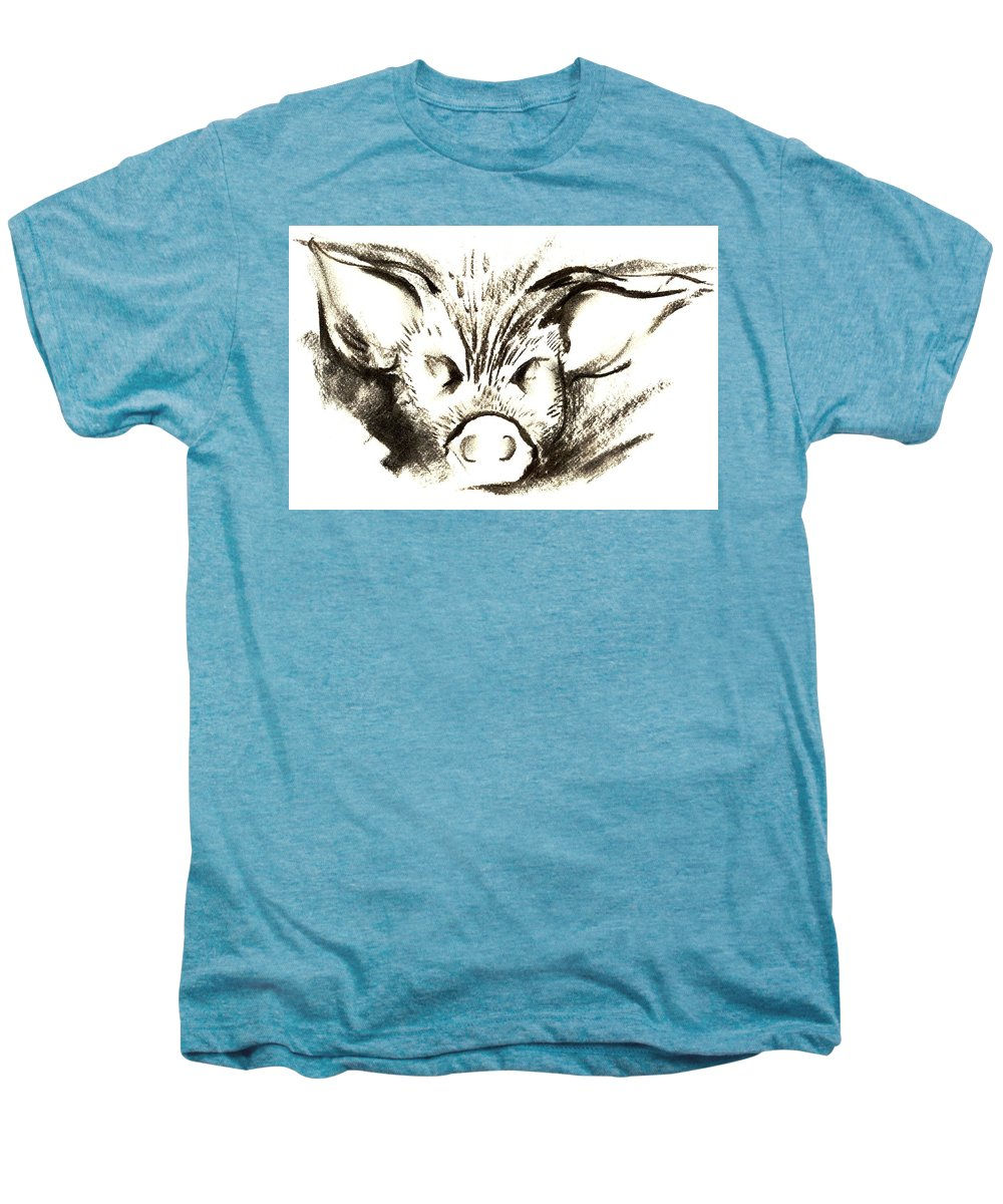 Animal Welfare Men's Premium T-Shirt featuring the drawing Pig Headed by Mark Cawood
