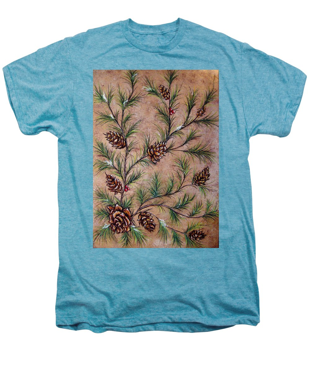 Acrylic Men's Premium T-Shirt featuring the painting Pine Cones And Spruce Branches by Nancy Mueller