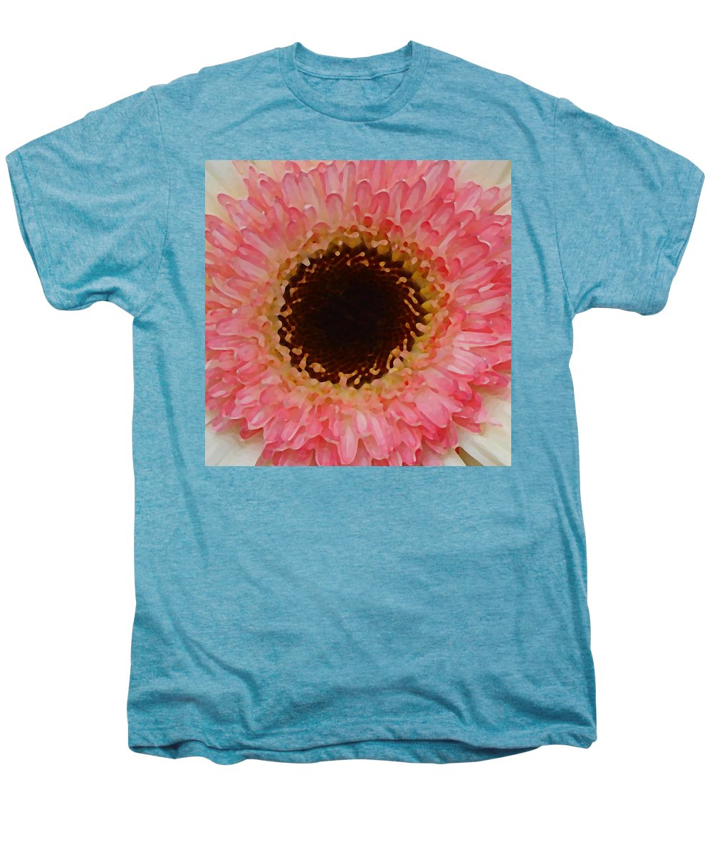 Daisy Men's Premium T-Shirt featuring the painting Pink And Brown Gerber Center by Amy Vangsgard