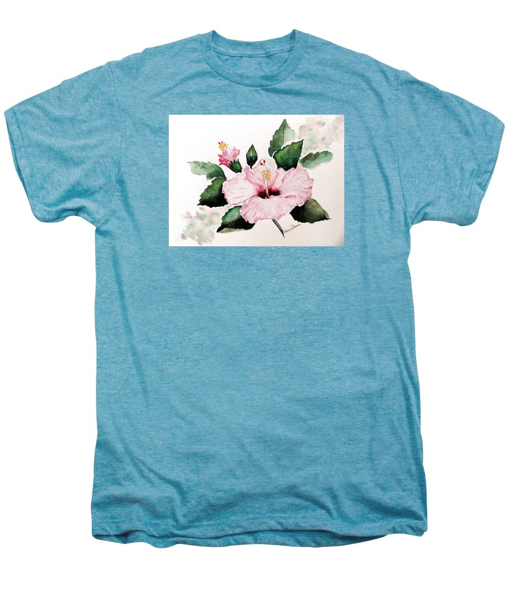 Hibiscus Painting  Floral Painting Flower Pink Hibiscus Tropical Bloom Caribbean Painting Men's Premium T-Shirt featuring the painting Pink Hibiscus by Karin Dawn Kelshall- Best