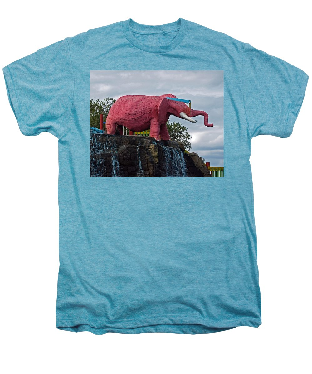Florida; Kitsch; Roadside; Road; Side; Astronaut; Cape; Canaveral; Pinky; Elephant; Statue; Monument Men's Premium T-Shirt featuring the photograph Pinky The Elephant At Cape Canaveral by Allan Hughes