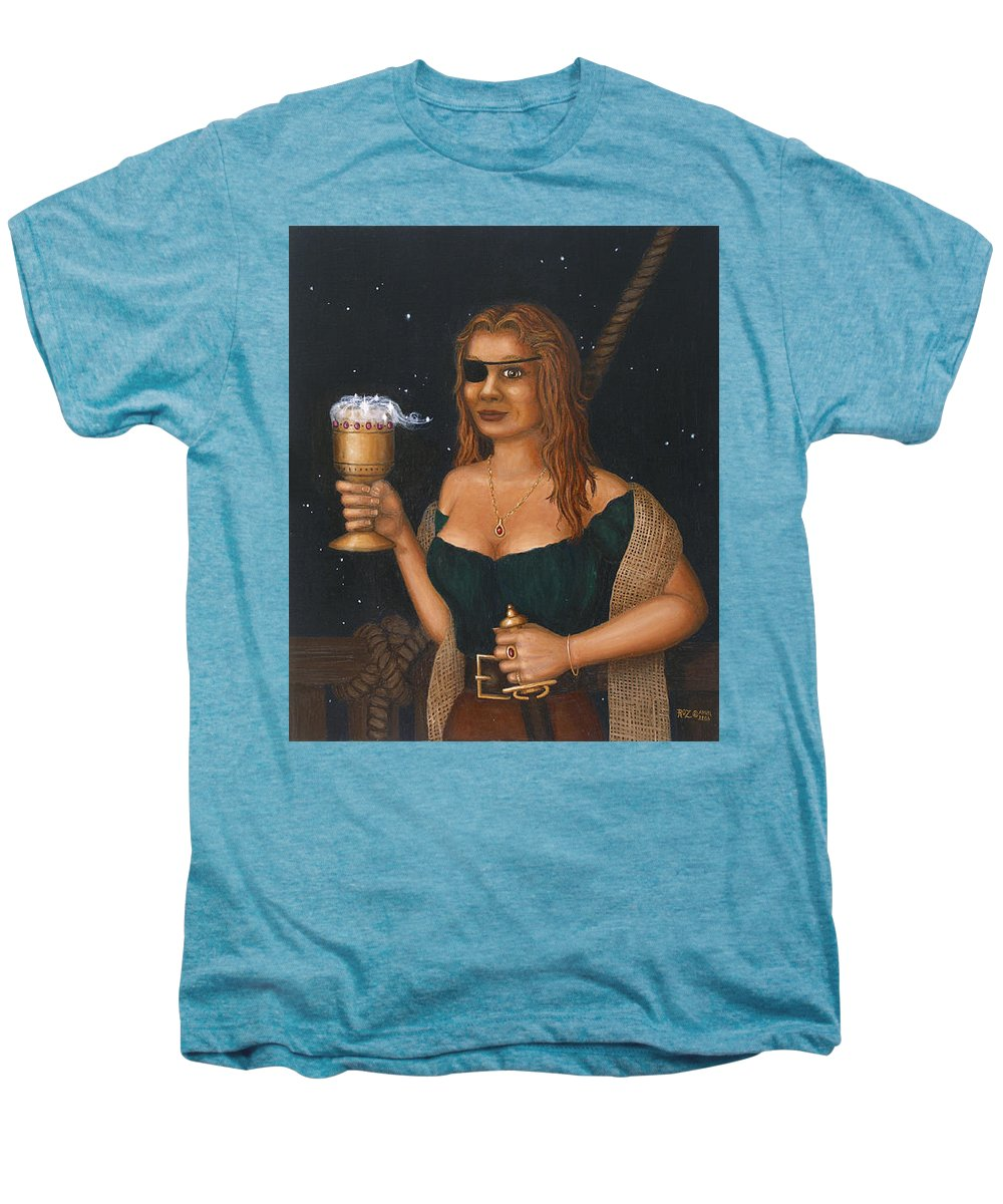 Fantasy Men's Premium T-Shirt featuring the painting Pirate Queen by Roz Eve