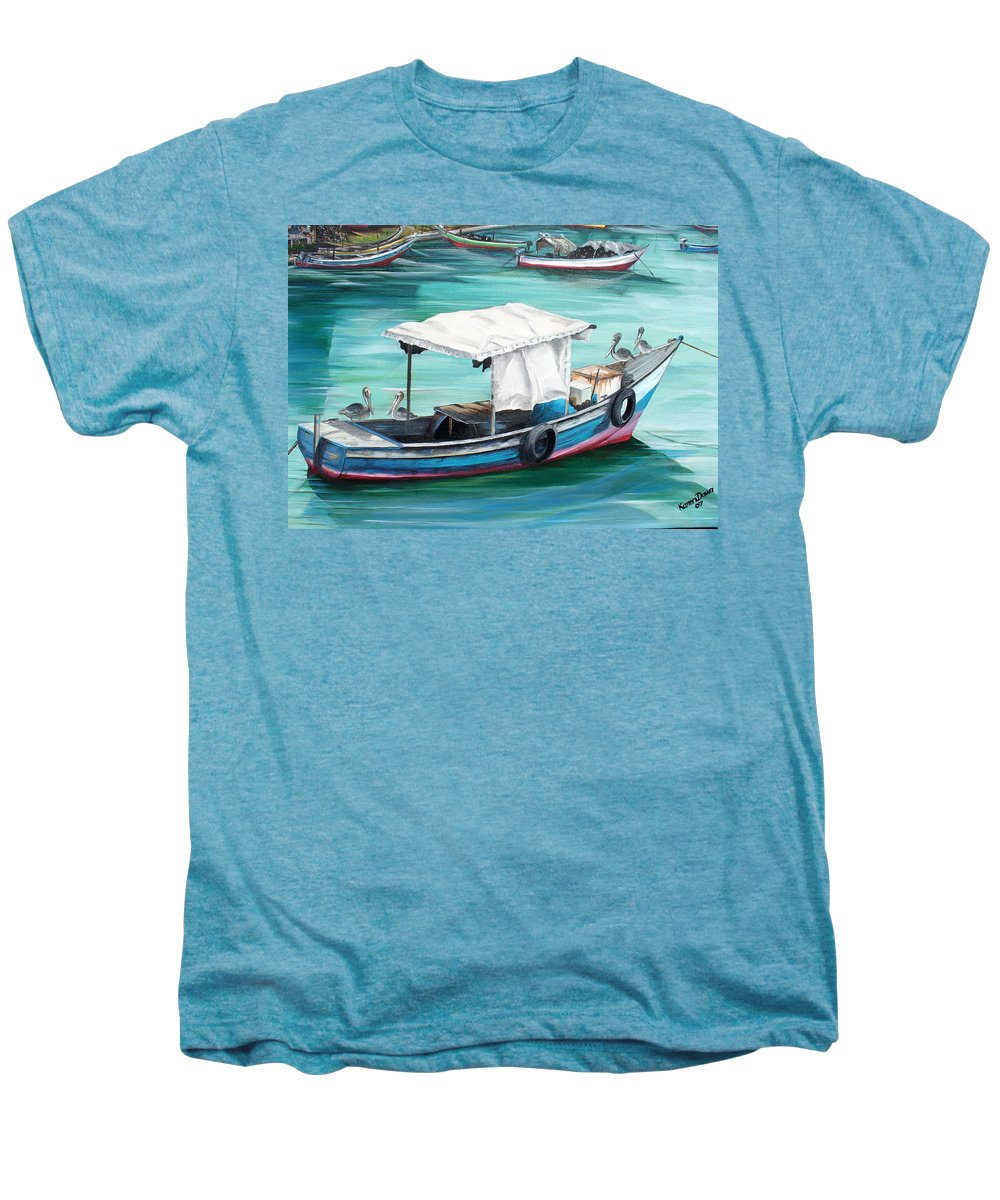 Fishing Boat Painting Seascape Ocean Painting Pelican Painting Boat Painting Caribbean Painting Pirogue Oil Fishing Boat Trinidad And Tobago Men's Premium T-Shirt featuring the painting Pirogue Fishing Boat by Karin Dawn Kelshall- Best