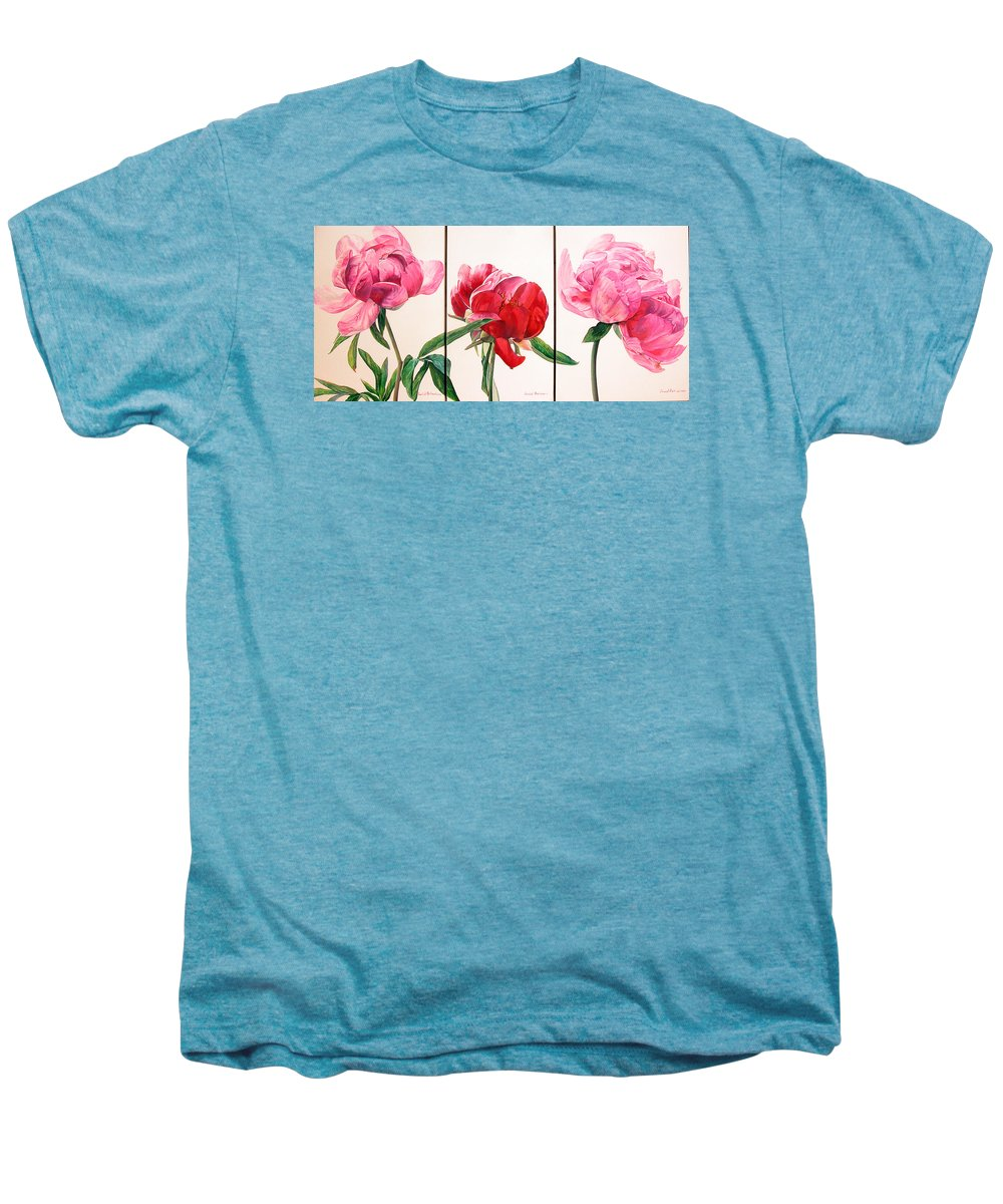 Floral Painting Men's Premium T-Shirt featuring the painting Pivoines by Muriel Dolemieux