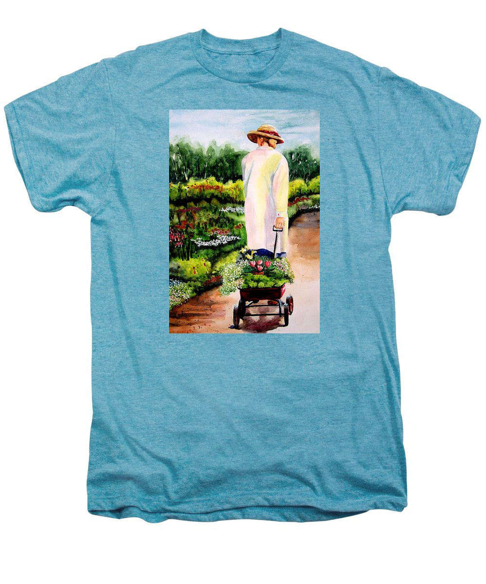Garden Men's Premium T-Shirt featuring the painting Planting Plans by Karen Stark