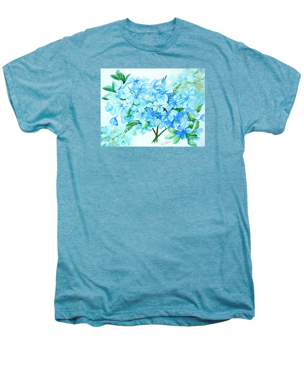 Floral Blue Painting Plumbago Painting Flower Painting Botanical Painting Bloom Blue Painting Men's Premium T-Shirt featuring the painting Plumbago by Karin Dawn Kelshall- Best