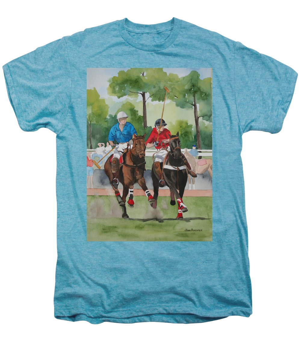 Polo Men's Premium T-Shirt featuring the painting Polo In The Afternoon 2 by Jean Blackmer