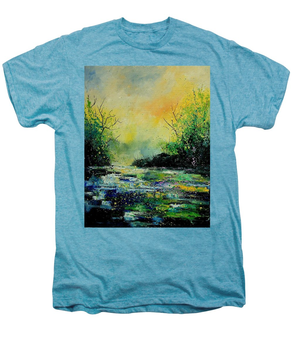 Water Men's Premium T-Shirt featuring the painting Pond 459060 by Pol Ledent