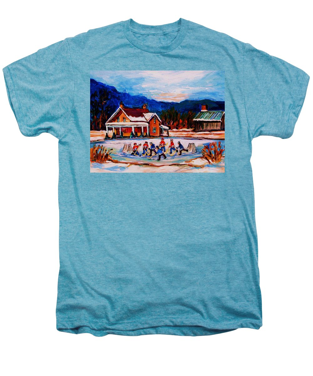 Hockey Men's Premium T-Shirt featuring the painting Pond Hockey by Carole Spandau
