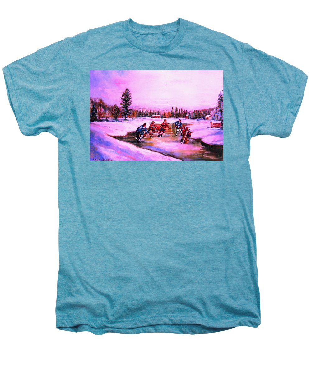 Hockey Men's Premium T-Shirt featuring the painting Pond Hockey Warm Skies by Carole Spandau