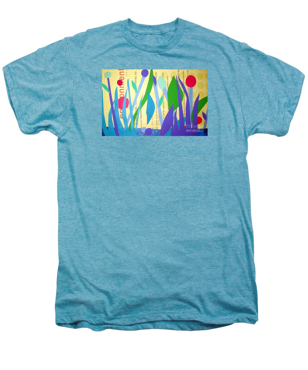 Landscape Men's Premium T-Shirt featuring the mixed media Pond Life by Debra Bretton Robinson