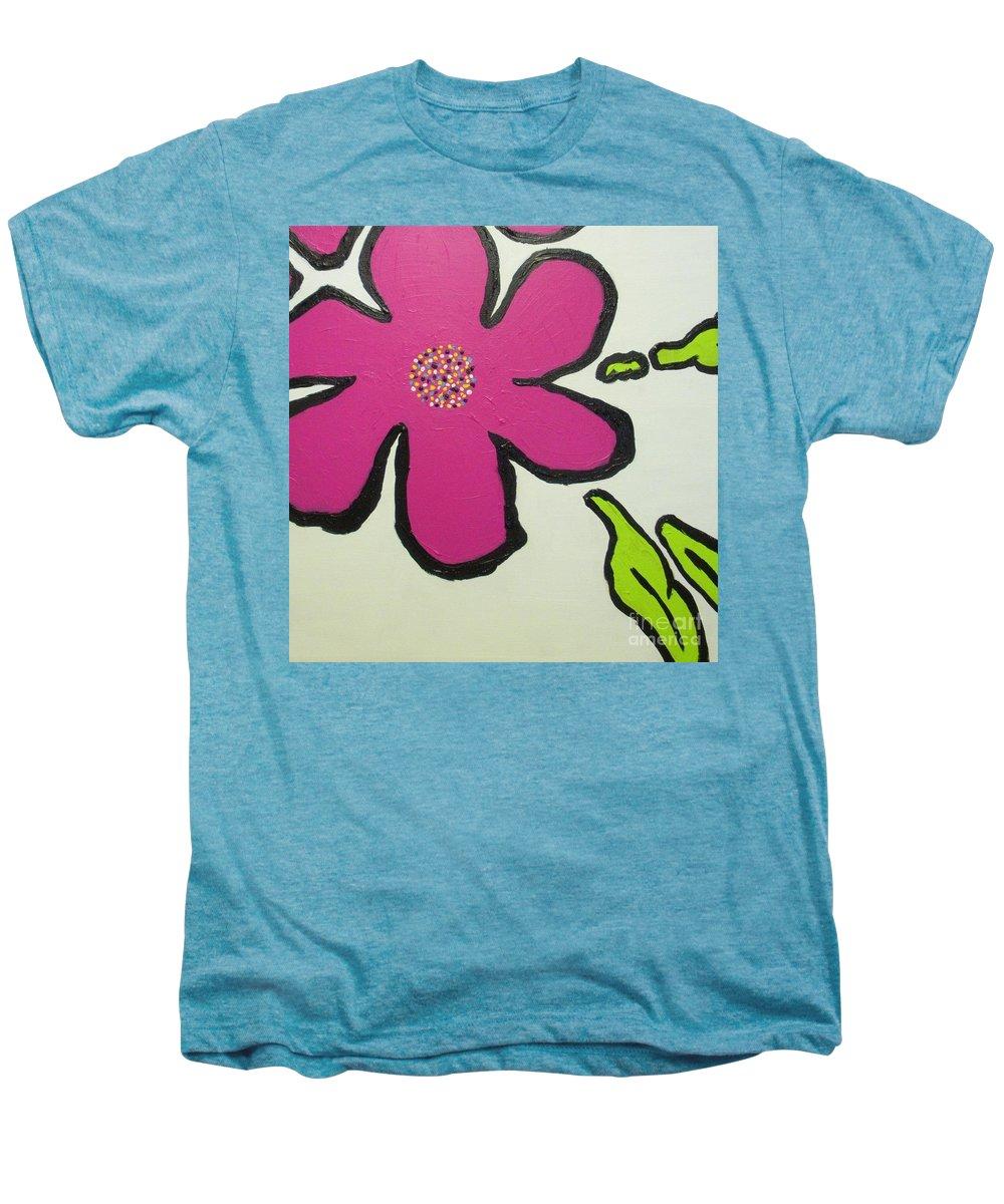 Flower Men's Premium T-Shirt featuring the painting Pop Art Pansy by Maria Bonnier-Perez
