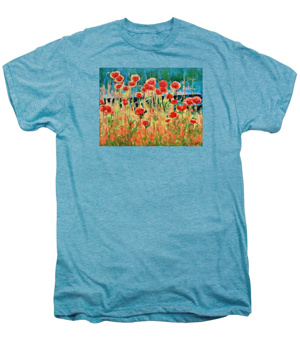 Poppies Men's Premium T-Shirt featuring the painting Poppies And Traverses 2 by Iliyan Bozhanov