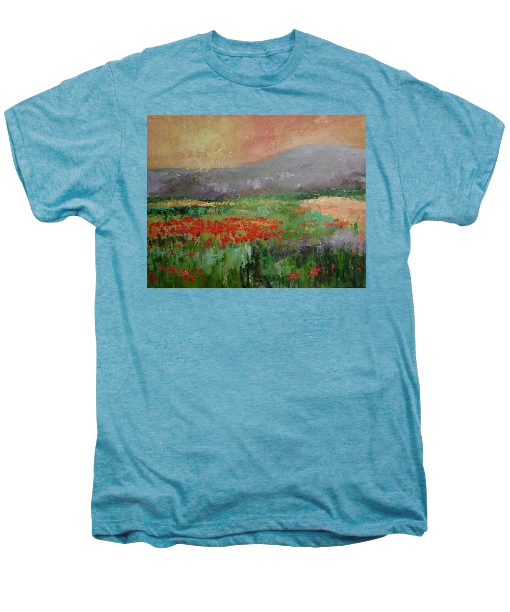 Poppies Men's Premium T-Shirt featuring the painting Poppyfield by Ginger Concepcion