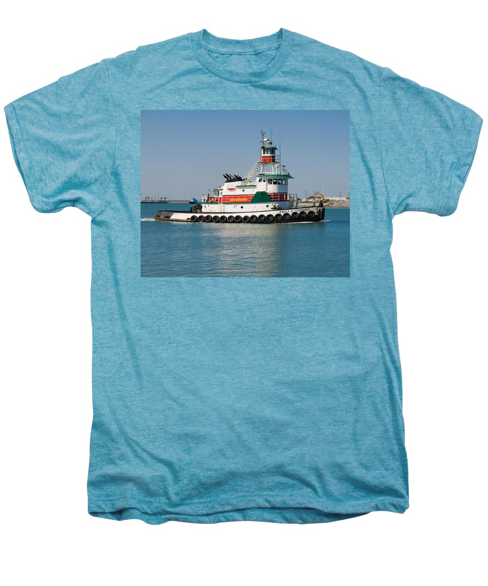 Emily; C; Cheramie; Tug; Tugboat; Bow; Offshore; 3600; Hp; Class; Work; Working; Workboat; Dredge; D Men's Premium T-Shirt featuring the photograph Popular Sight At Port Canaveral On Florida by Allan Hughes