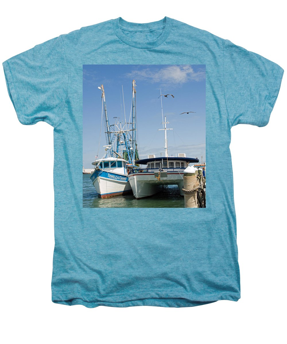 Florida; East; Coast; Atlantic; Ocean; Sea; Port; Canaberal; Harbor; Harbour; Boat; Shrimp; Party; C Men's Premium T-Shirt featuring the photograph Port Canaveral On The East Coast Of Florida by Allan Hughes