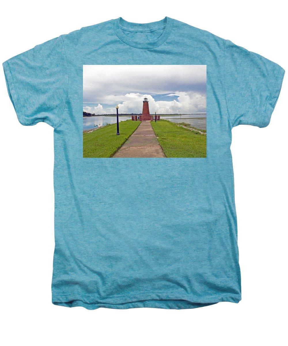 Florida; Kissimmee; Toho; Tohopekaliga; Port; Light; Lighthouse; House; Beacon; Brick; Central; Harb Men's Premium T-Shirt featuring the photograph Port Of Kissimmee Lighthouse On Lake Tohopekaliga In Central Florida by Allan Hughes
