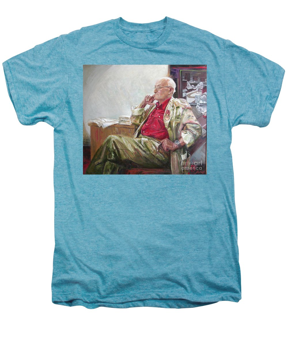 Oil Men's Premium T-Shirt featuring the painting Portrait Of May Dancig by Sergey Ignatenko