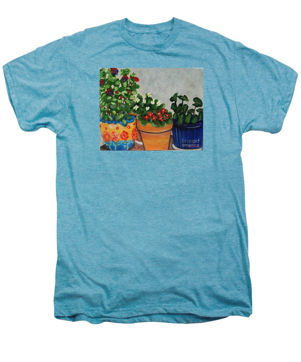 Ceramic Pots Men's Premium T-Shirt featuring the painting Pots Showing Off by Laurie Morgan