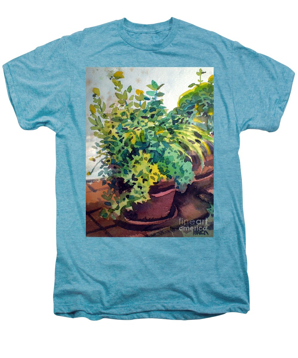 Herbs Men's Premium T-Shirt featuring the painting Potted Herbs by Donald Maier