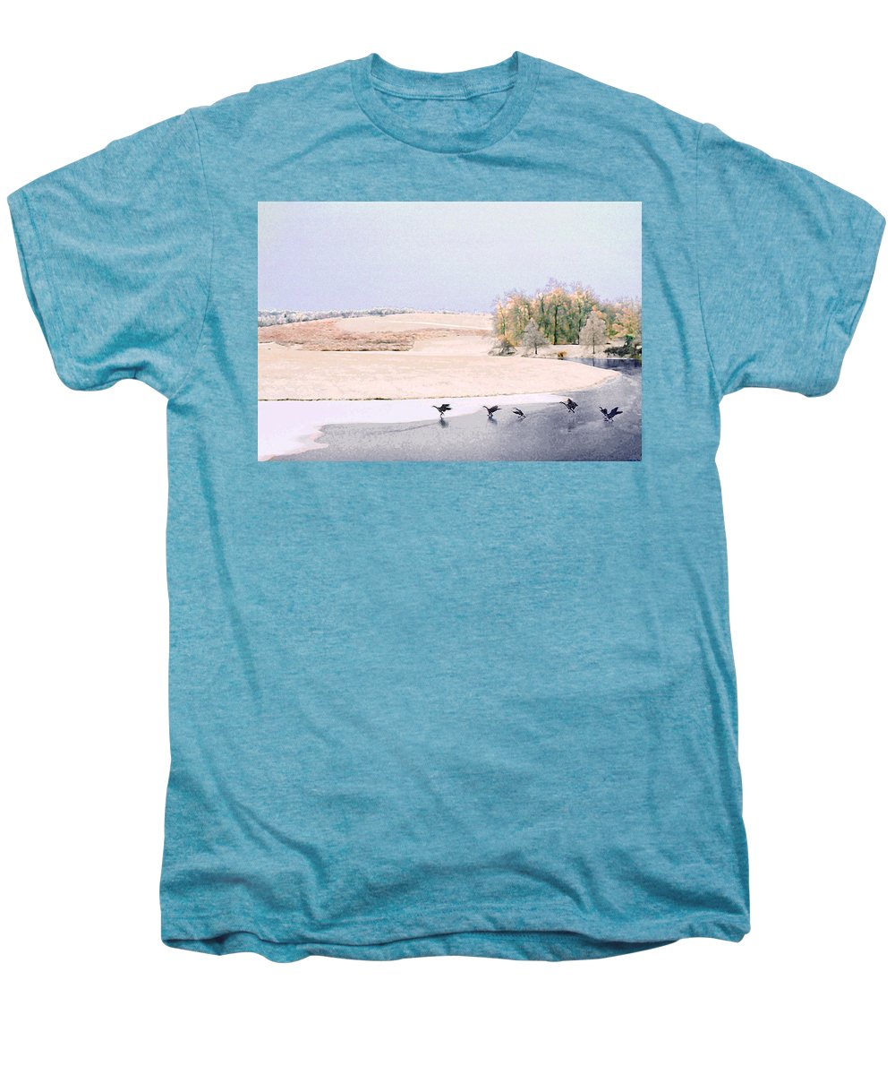 Landscape Men's Premium T-Shirt featuring the photograph Powell Gardens In Winter by Steve Karol