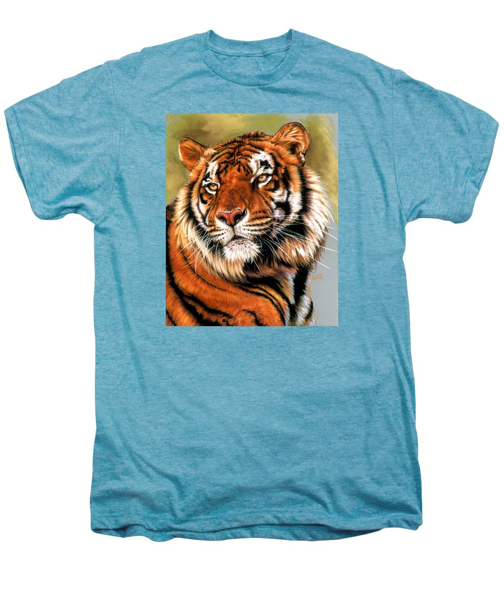 Tiger Men's Premium T-Shirt featuring the pastel Power And Grace by Barbara Keith