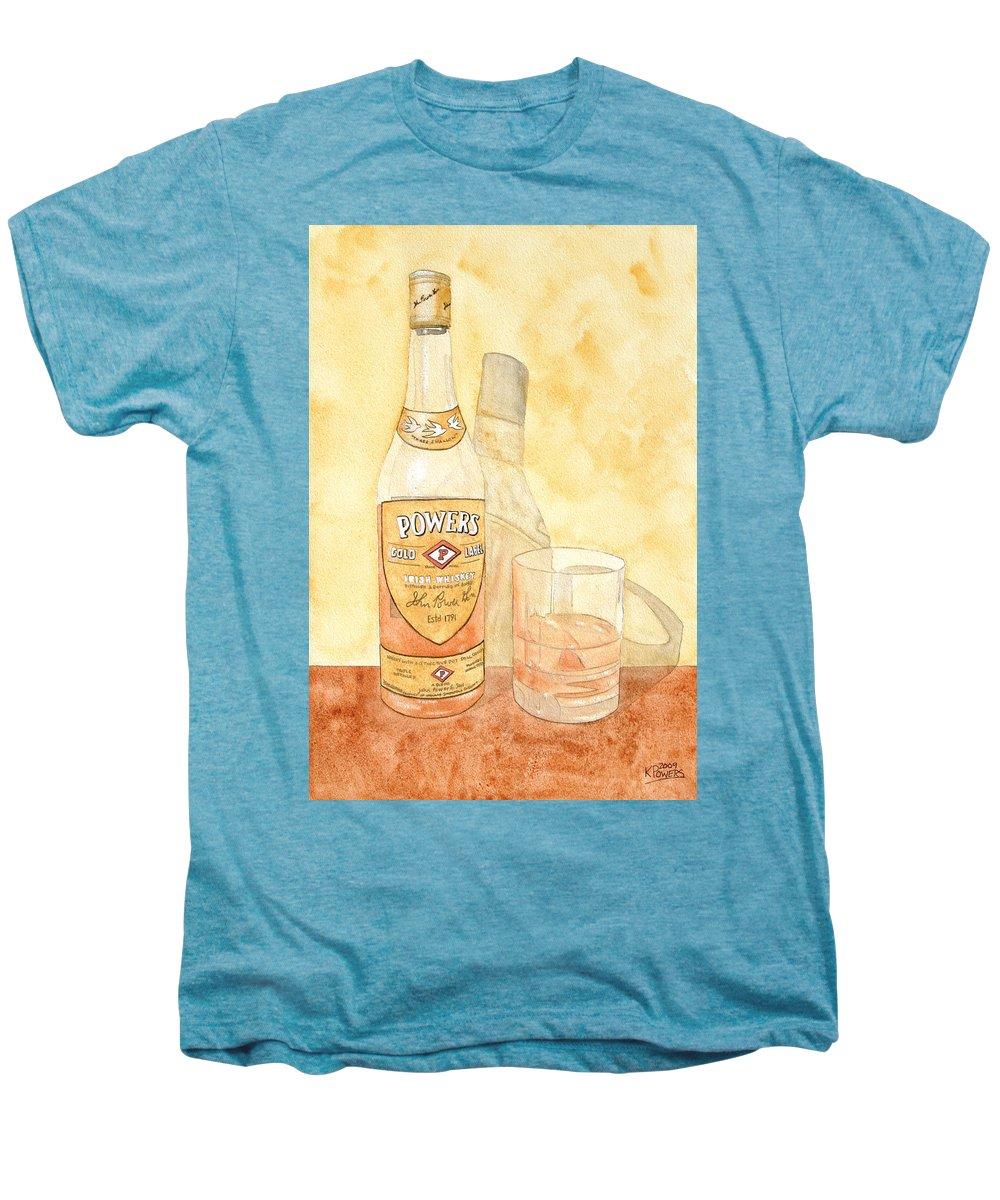 Irish Men's Premium T-Shirt featuring the painting Powers Irish Whiskey by Ken Powers