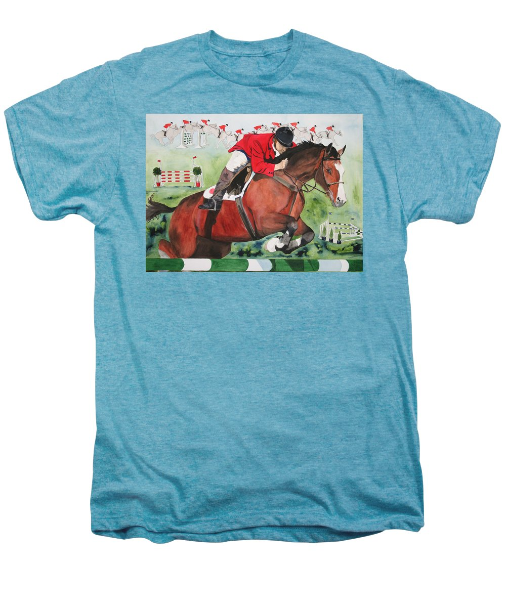Horse Men's Premium T-Shirt featuring the painting Practice Makes Perfect by Jean Blackmer