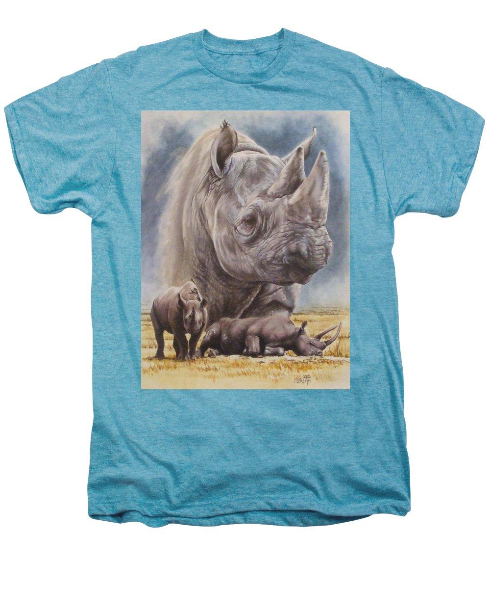 Wildlife Men's Premium T-Shirt featuring the mixed media Precarious by Barbara Keith