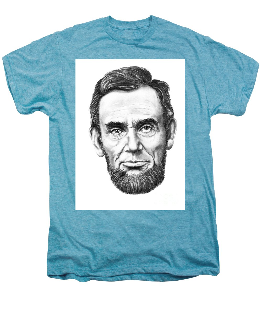 President Abe Lincoln Men's Premium T-Shirt featuring the drawing President Abe Lincoln by Murphy Elliott