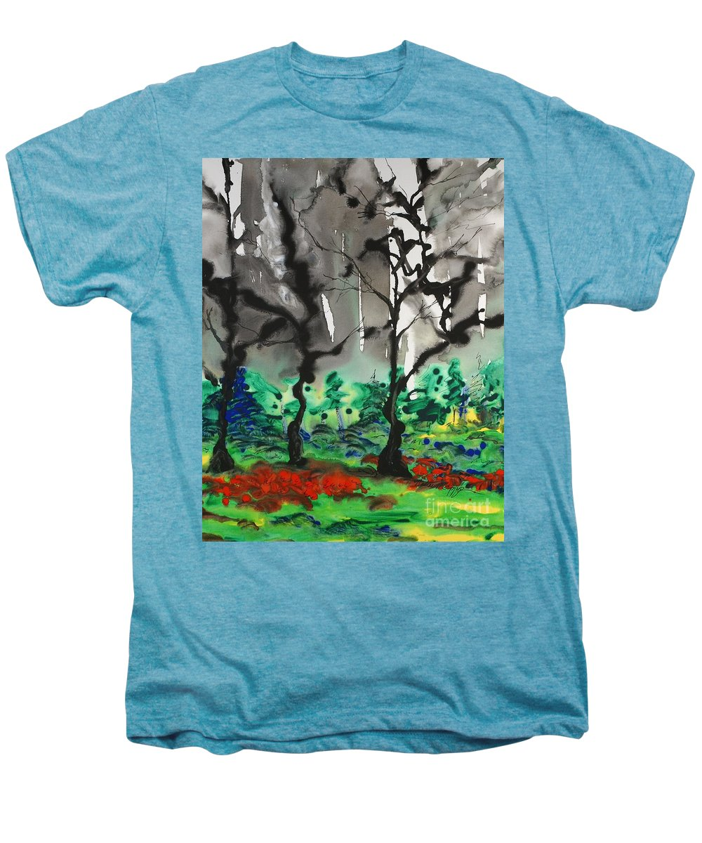 Forest Men's Premium T-Shirt featuring the painting Primary Forest by Nadine Rippelmeyer