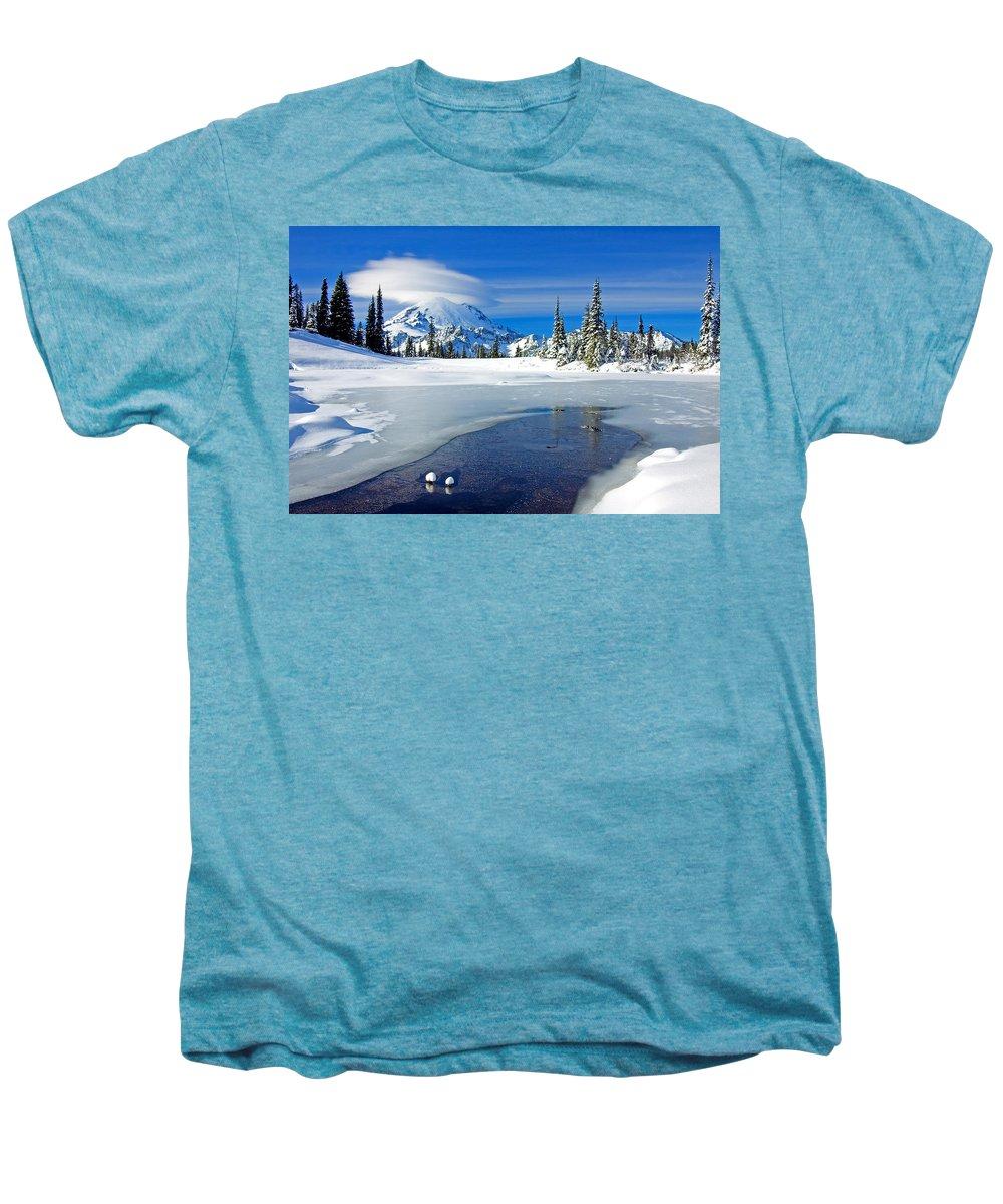 Rainier Men's Premium T-Shirt featuring the photograph Pristine by Mike Dawson