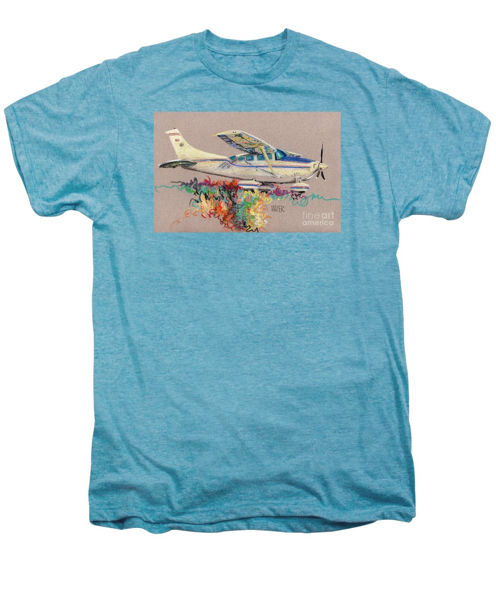Small Plane Men's Premium T-Shirt featuring the drawing Private Plane by Donald Maier