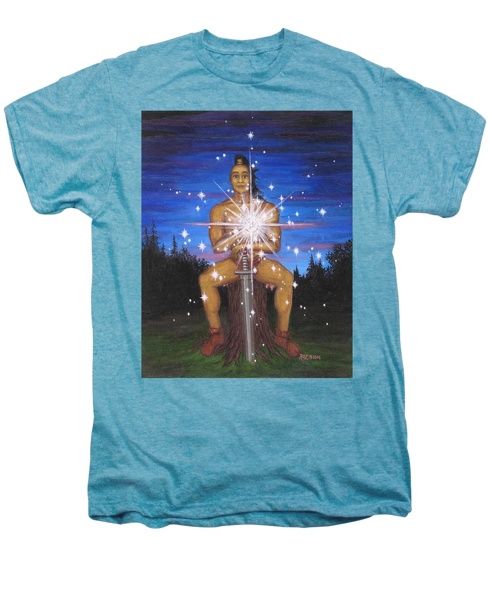 Fantasy Men's Premium T-Shirt featuring the painting Protector Of The Mystical Forest by Roz Eve