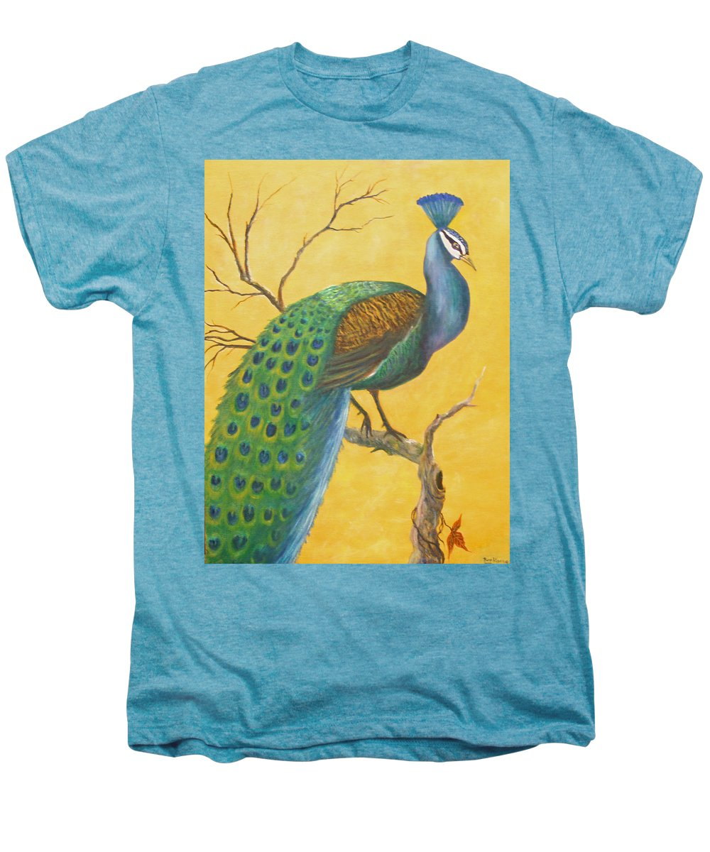 Peacock; Birds; Fall Leaves Men's Premium T-Shirt featuring the painting Proud As A Peacock by Ben Kiger
