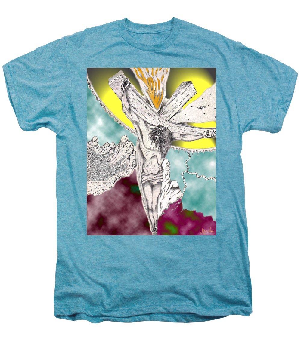 Spiritual Men's Premium T-Shirt featuring the digital art Psalm 22 Ch 13-15... by Marco Morales