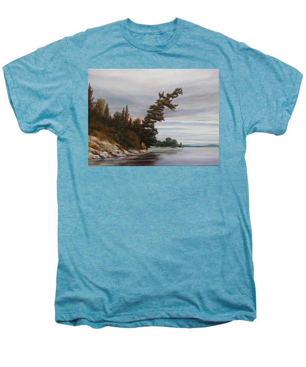 Landscape Men's Premium T-Shirt featuring the painting Ptarmigan Bay by Ruth Kamenev