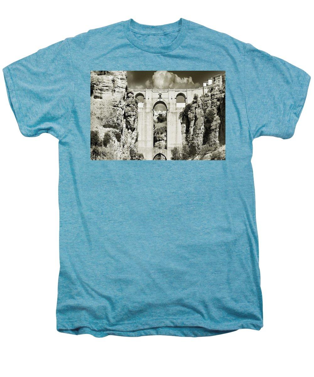 Bridge Men's Premium T-Shirt featuring the photograph Puente Nuevo Tajo De Ronda Andalucia Spain Europe by Mal Bray