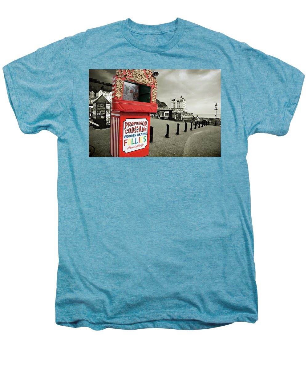 Punch And Judy Men's Premium T-Shirt featuring the photograph Punch And Judy Theatre On Llandudno Promenade by Mal Bray